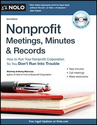 Nonprofit Meetings, Minutes & Records By Mancuso, Anthony